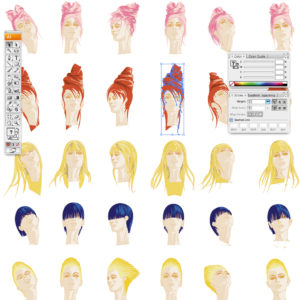 selezione hair style fashion sketck - woman